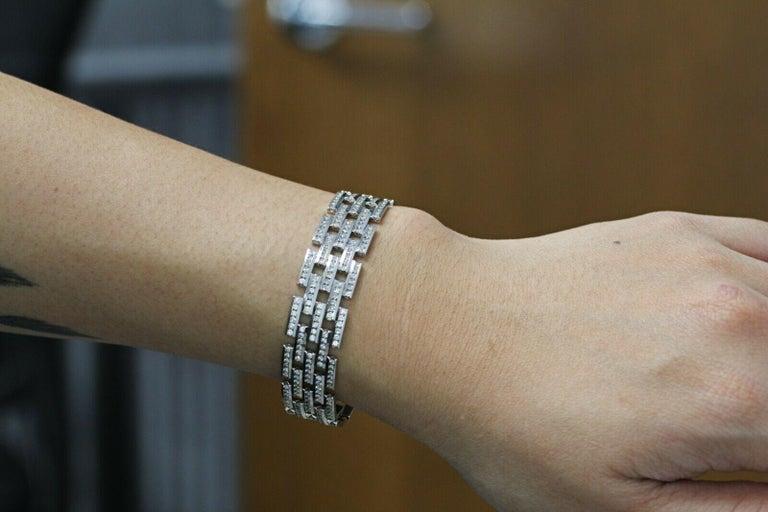 Women's or Men's 14 Karat Gold Maillon Panthere Diamond Bracelet 5-Row Beveled Link Bracelet For Sale