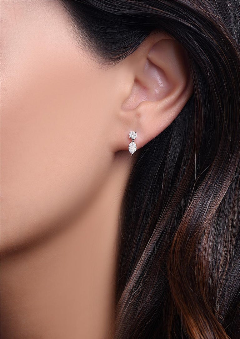 Round Cut 14 Karat White Gold Marquise Drop Dangle Earrings For Sale