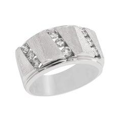 14K White Gold Matte Finish and Diamond Mens Ring