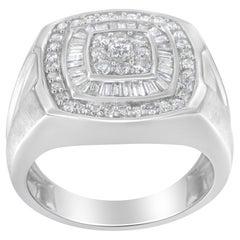 14k White Gold Men's 1.00 Carat Diamond Band Ring