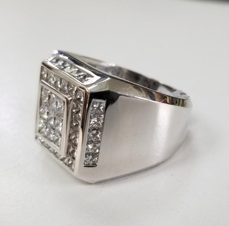14k white gold mens diamond channel set ring, containin 49 princess cut diamonds; color