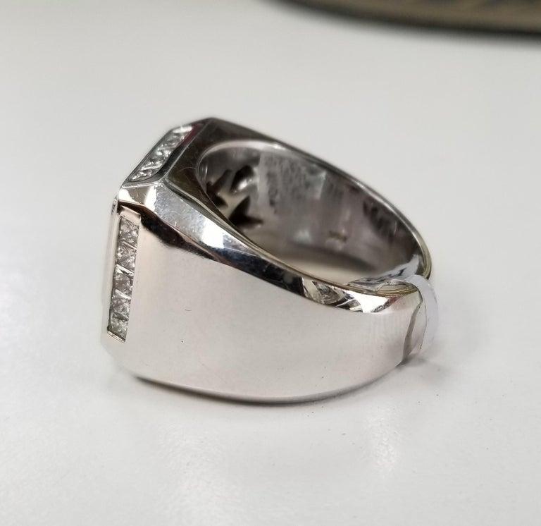 Modern 14 Karat White Gold Men's Princess Cut Diamond Channel Set Ring with 4.07 Carat For Sale
