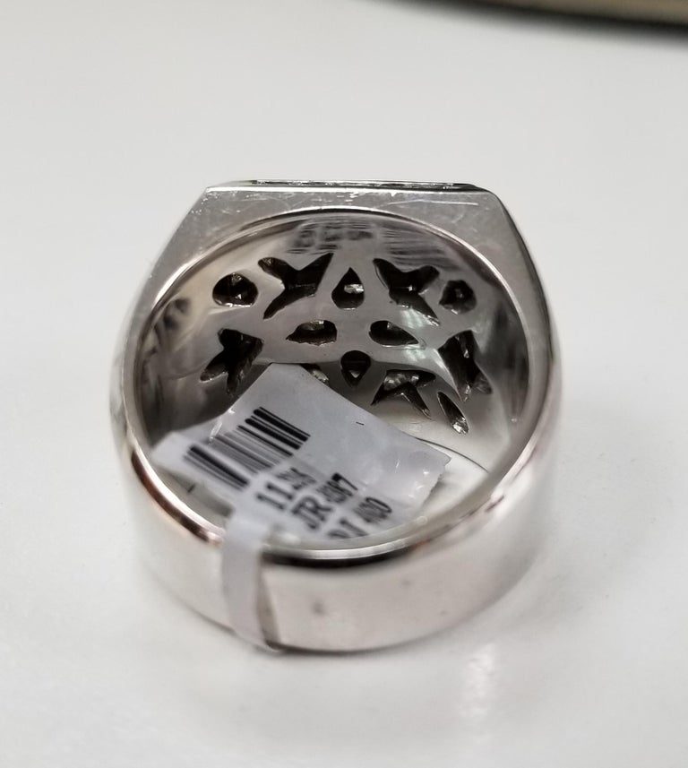 14 Karat White Gold Men's Princess Cut Diamond Channel Set Ring with 4.07 Carat In New Condition For Sale In Los Angeles, CA