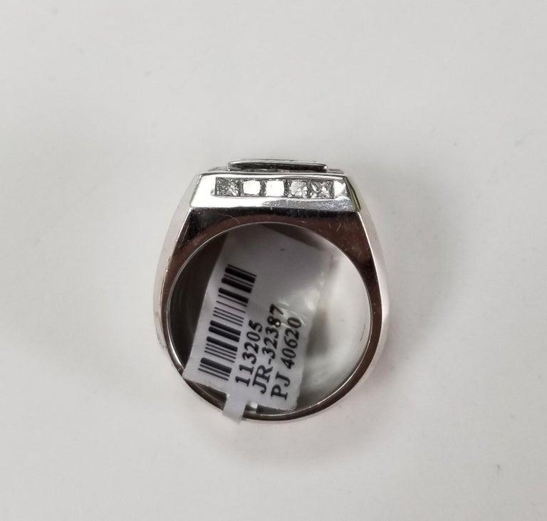Women's or Men's 14 Karat White Gold Men's Princess Cut Diamond Channel Set Ring with 4.07 Carat For Sale
