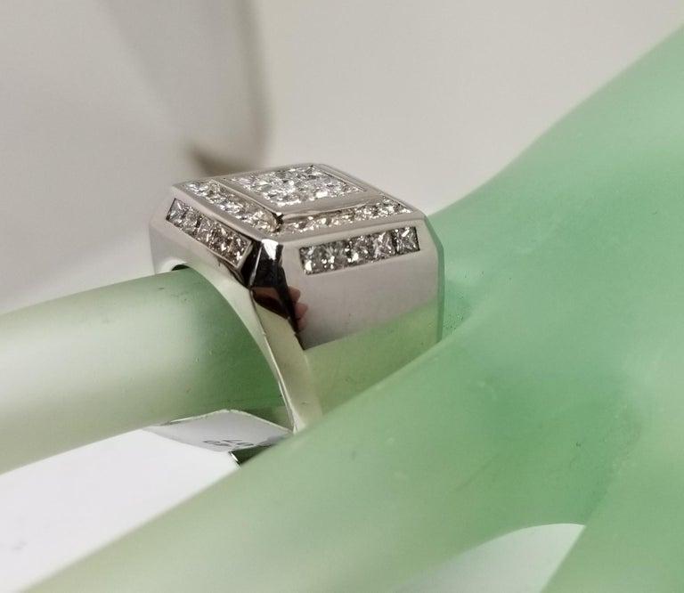 14 Karat White Gold Men's Princess Cut Diamond Channel Set Ring with 4.07 Carat For Sale 4