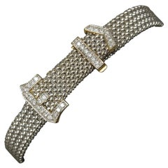14 Karat White Gold Mesh Brilliant Diamond Buckle Bracelet