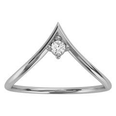 14k White Gold Minimalist Chevron Solitaire Diamond Ring 'Center - 0.07 Carat'