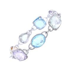 14 Karat White Gold Multi-Gemstone and Diamond Bracelet