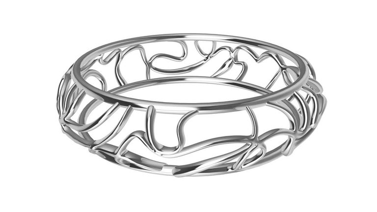 14k White Gold Oceans Bracelet,  My favorite place on earth. The ocean. As unpredictable as the ocean, with its currents, riptides, and the moon's gravitational pull. This bangle twists and turns but don't worry, it's safer than the ocean. Made to