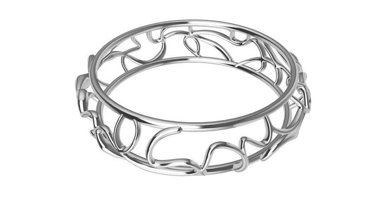 Women's or Men's 14 Karat White Gold Oceans Bracelet For Sale