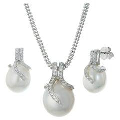14K White Gold Oscar Collection South Sea Pearl and Diamond Set