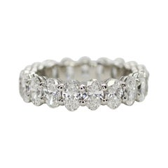 14k White Gold Oval Cut Diamond Eternity Ring with Total Weight 4.66cts