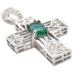 14 Karat White Gold Oval Emerald and Diamond Cross Pendant Necklace
