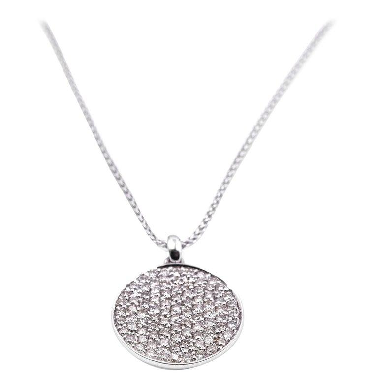 f7bffd5e704ba 14 Karat White Gold Pave Diamond Disc Necklace