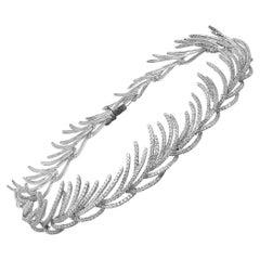 14k White Gold Pave Diamond Fringe Collar Necklace