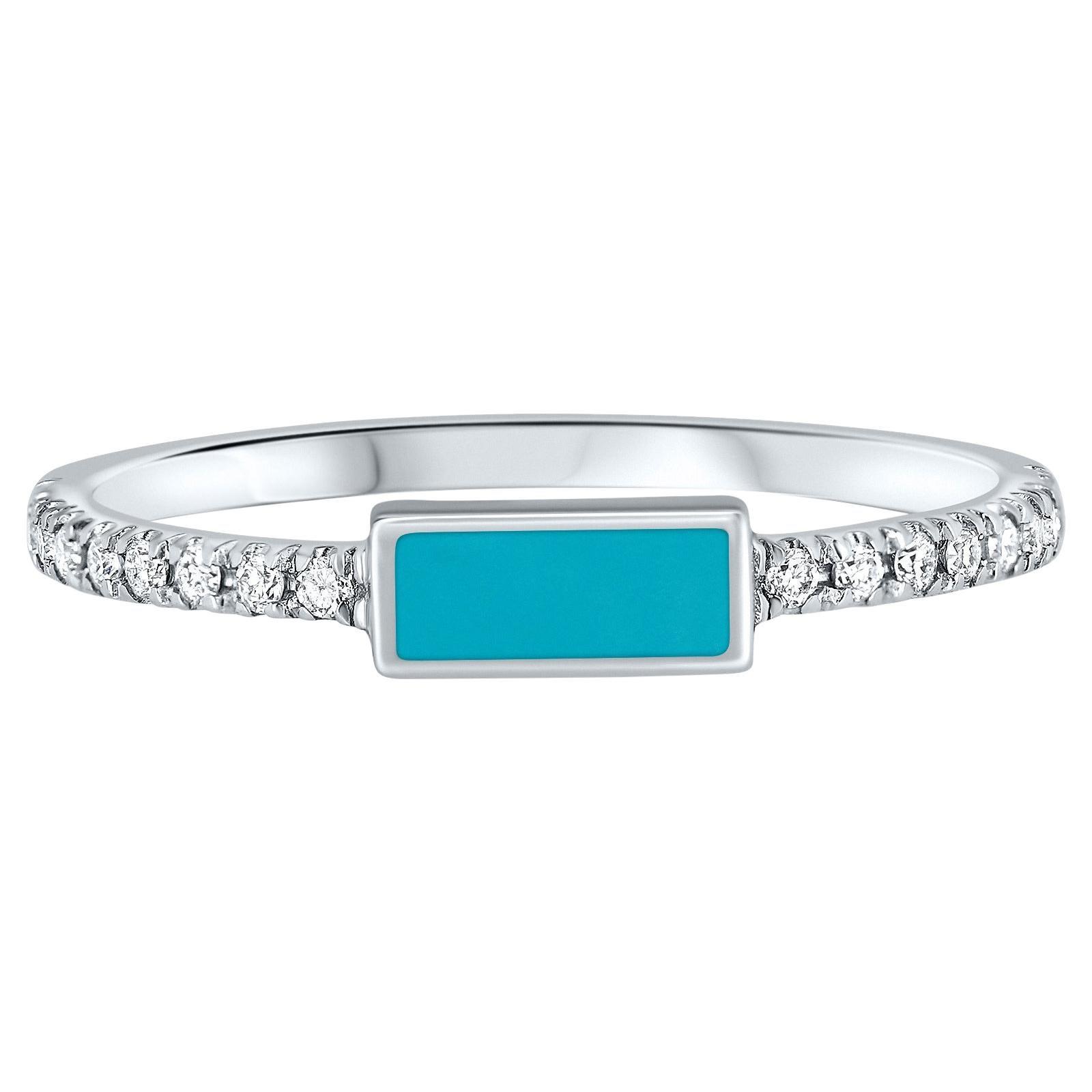 14K White Gold Pave Diamond Turquoise Enamel Rectangle Ring, Shlomit Rogel