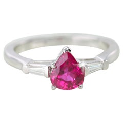 14 Karat White Gold Pear Shaped Ruby with Baguette Diamonds Ring