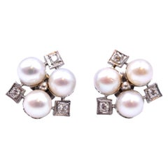 14 Karat White Gold Pearl and Diamond Cluster Earrings