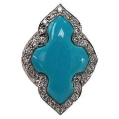 "14 Karat White Gold ""Persian"" Turquoise and Diamond Filigree Ring"