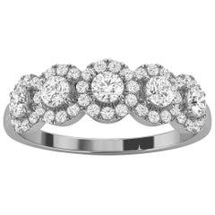 14K White Gold Petite Jenna Halo Diamond Ring '1/2 Ct. tw'