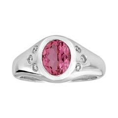14k White Gold Pink Tourmaline and Diamond Pinky Signet Ring