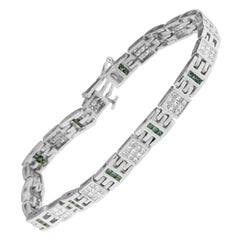 14k White Gold Princess-Cut White and Treated Blue Diamond Tennis Bracelet