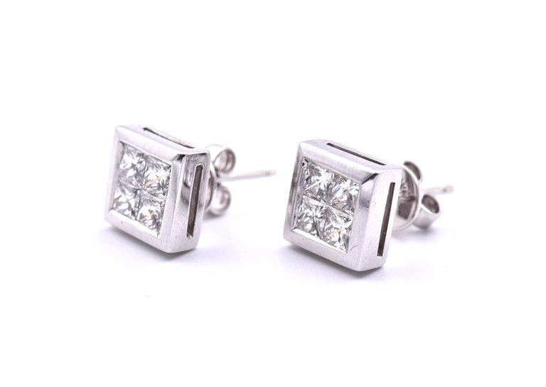 Princess Cut 14 Karat White Gold Quadset Diamond Stud Earrings For Sale