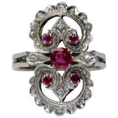 14K White Gold Ring Studded With Rubies And Diamonds