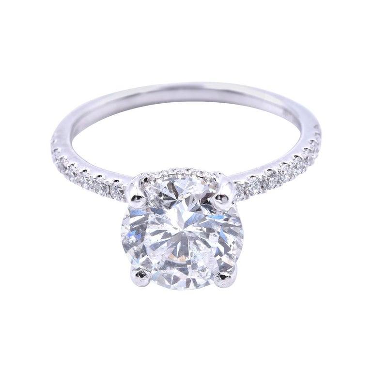 14 Karat White Gold Round Brilliant Cut Diamond Engagement Ring For Sale
