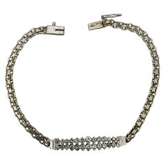 14K White Gold Round Cut Diamond Bar Chain Bracelet