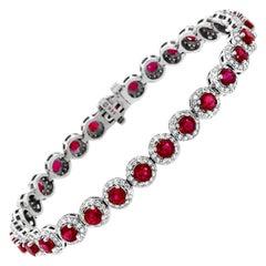14K White Gold Ruby & Diamond Halo Bracelet '13 Ct. tw'