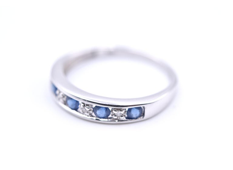 Round Cut 14 Karat White Gold Sapphire and Diamond Band For Sale