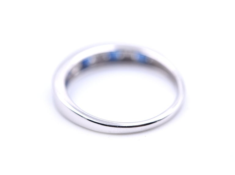 14 Karat White Gold Sapphire and Diamond Band In Excellent Condition For Sale In Scottsdale, AZ