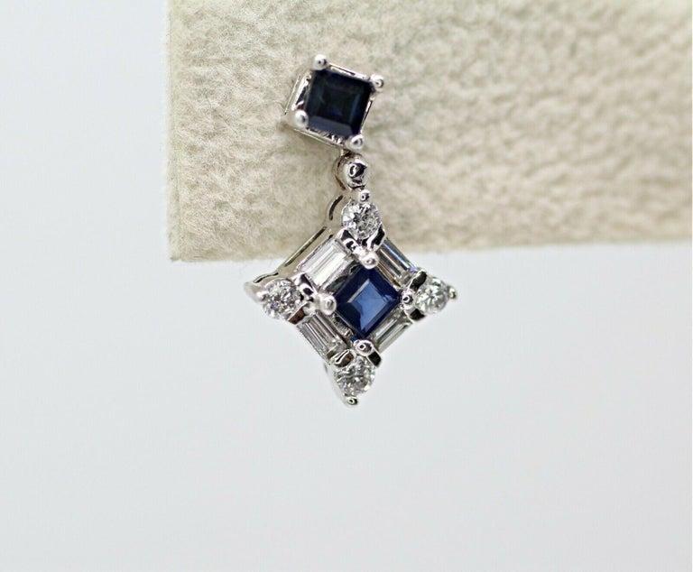 Modern 14 Karat White Gold Sapphire and Diamond Drop Earrings For Sale