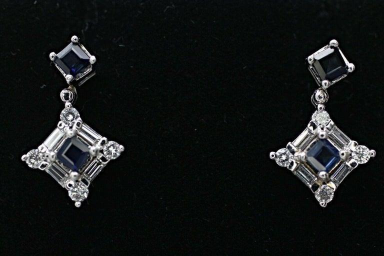 Baguette Cut 14 Karat White Gold Sapphire and Diamond Drop Earrings For Sale