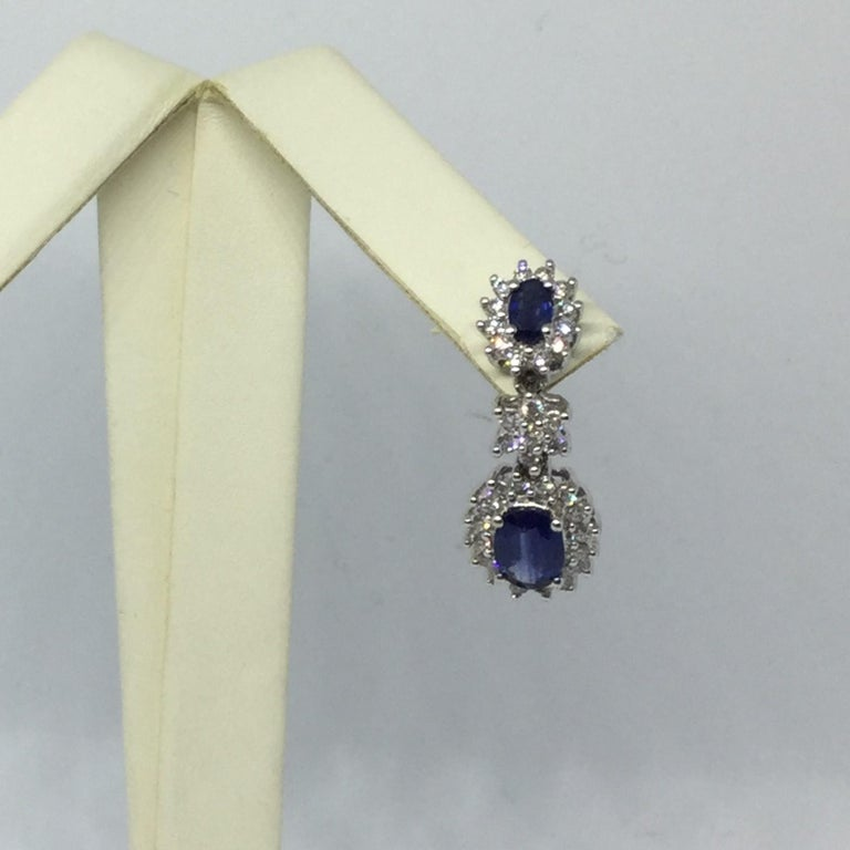 14 Karat White Gold Sapphire and Diamond Earrings In New Condition For Sale In Wilton, CT
