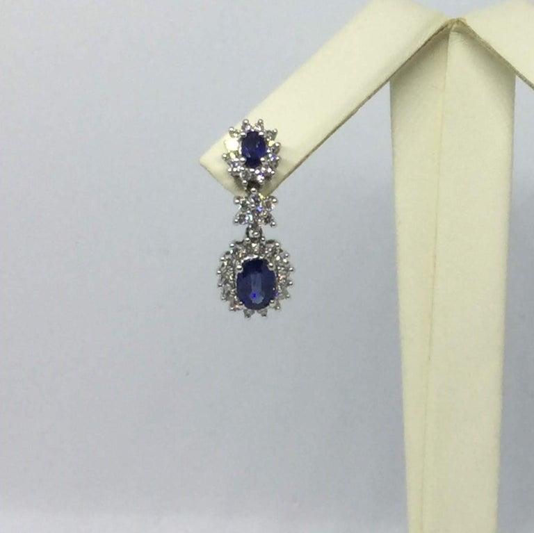 Women's or Men's 14 Karat White Gold Sapphire and Diamond Earrings For Sale