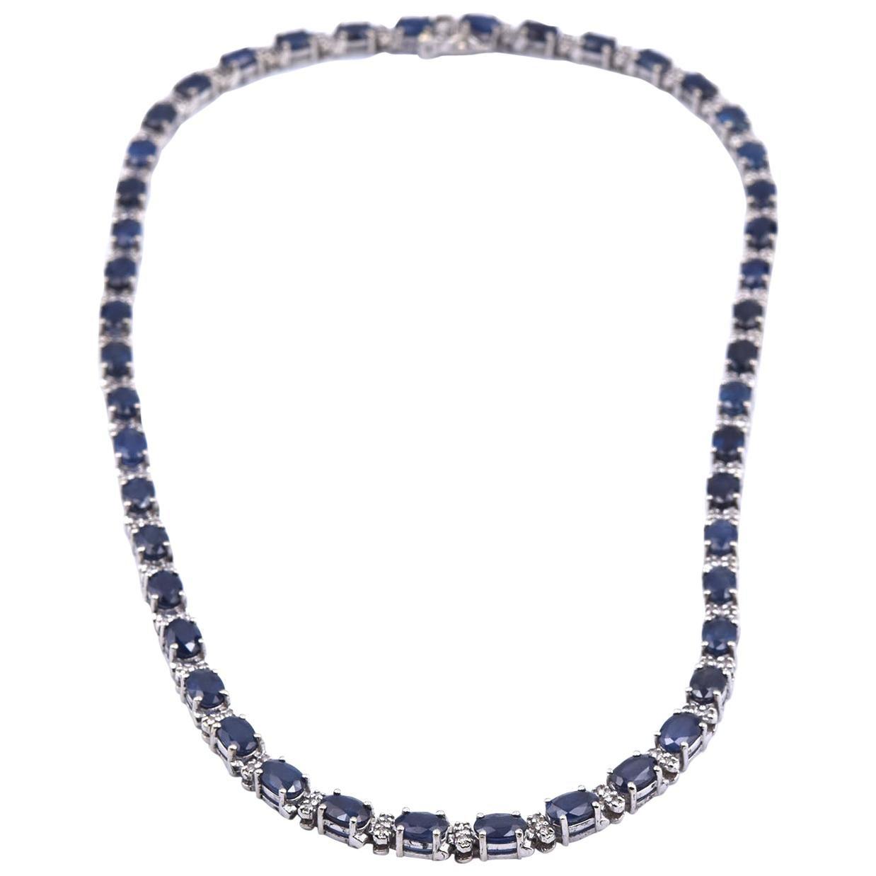 14 Karat White Gold Sapphire and Diamond Inline Tennis Necklace