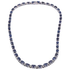 14 Karat White Gold Sapphire and Diamond Inline Tennis Necklace