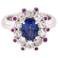 14 Karat White Gold Sapphire and Multi-Color Diamond Ring