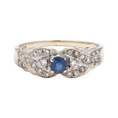 14K White Gold, Sapphire & Diamond Ring