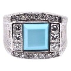 14 Karat White Gold Sleeping Beauty Turquoise and Diamond Fashion Ring