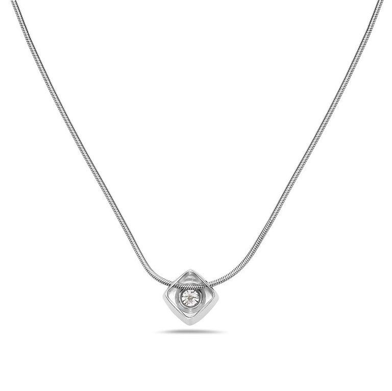 Modern 14 Karat White Gold Square Pendant Necklace For Sale