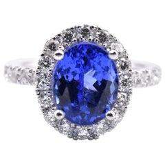 14 Karat White Gold Tanzanite and Diamond Halo Ring