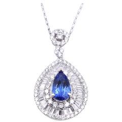 14 Karat White Gold Tanzanite and Diamond Necklace