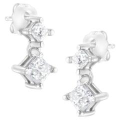 14K White Gold Double Princess Diamond Stud Earrings
