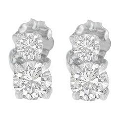 14K White Gold Double Diamond Dangle Stud Earrings