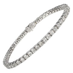 14K White Gold Tennis Bracelet with Four Marquises on Clasp, 6 3/4 Ctw