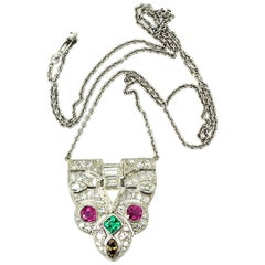 14k White Gold Vintage Art Deco Style 4.53ctw Diamond Colored Gemstones Pendant