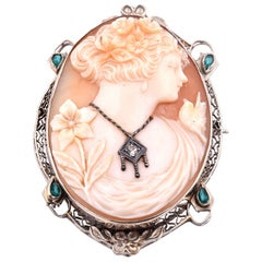 14 Karat White Gold Vintage Emerald and Diamond Cameo Pin/Pendant